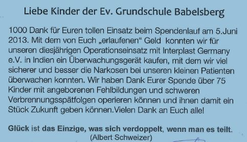Liebe Kinder der Ev. Grundschule Babelsberg